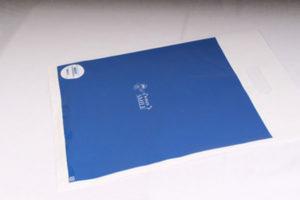 ブルーで印刷された手穴ポリ袋